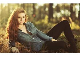 人,红发,上衣,解开,黑裤子,美女,户外的女人,性质,长发,模特67579
