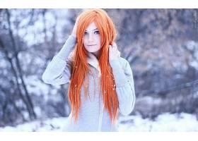 人,红发,冬季,美女,户外的女人,长发,苍白,背景虚化,蓝眼睛,毛线
