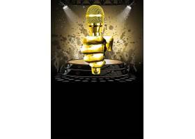 黑色简洁金色麦克风歌唱大赛海报背景模板