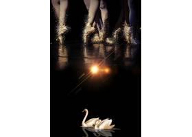 创意黑金芭蕾舞天鹅海报背景模板