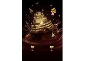 黑金巧克力蛋糕创意海报背景模板