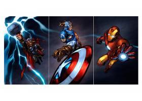 漫画壁纸,这,复仇者联盟,托尔,船长,美国,熨斗,男人,壁纸