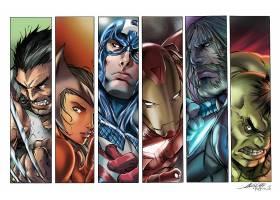 漫画壁纸,这,复仇者联盟,金刚狼,船长,美国,熨斗,男人,托尔,赫然