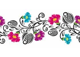 彩色花朵与复古花纹边框设计