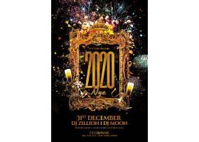 金色2020复古相框与香槟酒新年海报模板