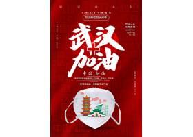 红色简约武汉加油抗击新型冠状病毒宣传海报