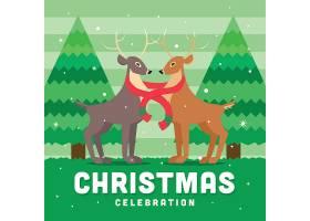 卡通绿色圣诞节海报图片