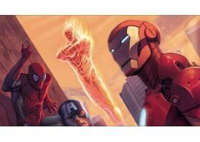 漫画壁纸,复仇者联盟,这,复仇者联盟,人类,火炬,蜘蛛侠,船长,美国