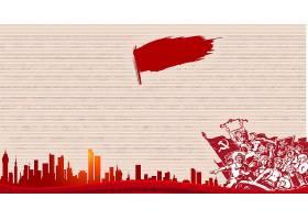 红色党旗与工农民背景图片