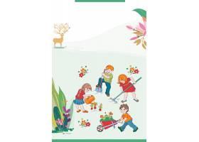 卡通孩子背景五一劳动节模板