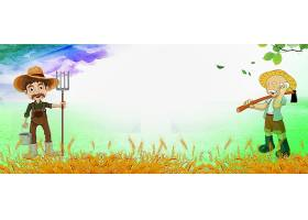 创意农夫农民五一劳动节卡通形象背景模板图片