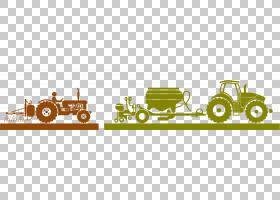 农业机械农业重型设备图标,人们驾驶拖拉机创意PNG剪贴画文本,徽