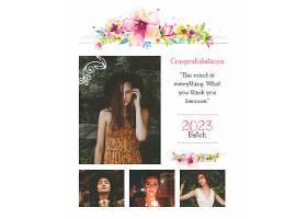 创意花卉女性图集海报模板