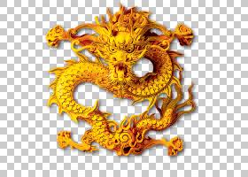 中国中国龙,中国龙PNG剪贴画模板,墨水,中国风格,龙,橙色,虚构人图片
