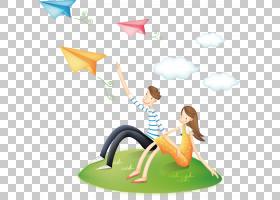 飞机动画片纸飞机,在草PNG clipart的夫妇爱,漫画,孩子,名片,草,图片