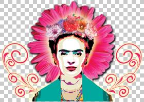 Frida Kahlo博物馆绘画艺术家,节日PNG剪贴画插花,脸,摄影,花,洋