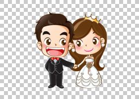 婚礼邀请卡通婚姻绘图,卡通新娘和新郎,新娘和新郎数字PNG剪贴画
