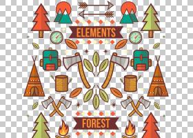 野营树,森林野营元素PNG剪贴画食品,帐篷卡通,压缩PostScript,设