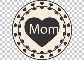 母亲节礼品纸,母亲节圆形元素PNG剪贴画爱,标签,心,节日元素,徽标