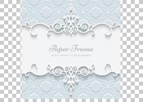 纸婚礼邀请花边装饰,白色花边边框图案卡,纸架广告PNG剪贴画边框,