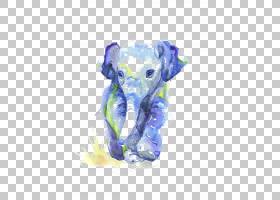 水彩绘画绘图婴儿素描,水彩大象PNG剪贴画蓝色,水彩叶子,哺乳动物