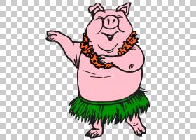 猪Hula舞蹈艺术,猪PNG剪贴画动物,carnivoran,虚构人物,鼻子,微笑