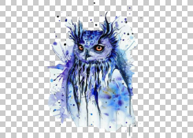 绘画水彩绘画艺术,绘画PNG剪贴画紫罗兰,脊椎动物,电脑壁纸,猫头