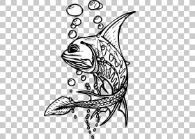 孤独的鱼PNG剪贴画白色,哺乳动物,动物,复古,单色,脊椎动物,头,水图片