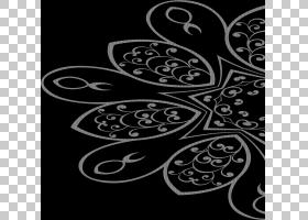 花卉花艺设计艺术,蜡染PNG剪贴画白色,单色,对称性,黑色,树,视觉