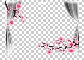 婚礼自己做,婚礼海报框架,粉红色的树花和灰色窗帘PNG剪贴画框架,图片