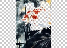 油画再现内江中国画艺术,墨荷花池PNG剪贴画海报,装饰,电脑壁纸,