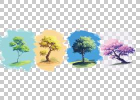 四季酒店及度假村水彩画,四季树PNG剪贴画树枝,棕榈树,生日快乐矢
