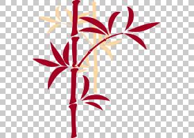中国新年公鸡,竹PNG剪贴画叶,计算机,分支,竹叶,新的一年,竹叶,花
