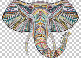 大象曼荼罗设计:为成人放松着色书,大象PNG剪贴画动物,对称性,创图片