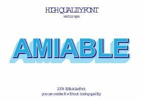 复古白底蓝字英文艺术字体设计