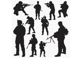 军人战斗持枪人物剪影素材