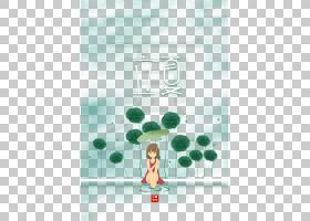 用荷叶遮雨的女孩背景立夏PNG素材图片