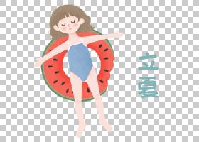 泳装小女孩卡通背景立夏PNG素材图片