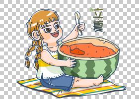 大口吃西瓜的小女孩立夏PNG素材