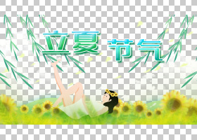 向日葵女孩与柳枝背景立夏PNG素材