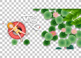 日系风泳装女孩与荷叶背景立夏PNG素材