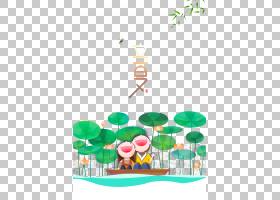 荷花池与快乐小孩背景立夏PNG素材