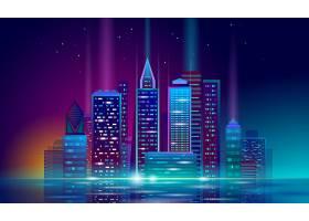 创意商务科技风炫彩城市矢量插画