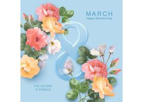 三八女神节清新花卉促销标签设计