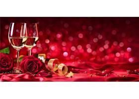 结婚季红色香槟美酒背景图片