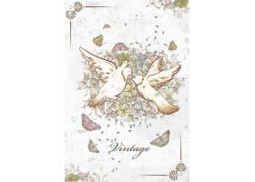 清新文艺手绘鸟和花卉婚礼背景