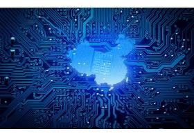 深色中国质感创意电路板科技芯片背景