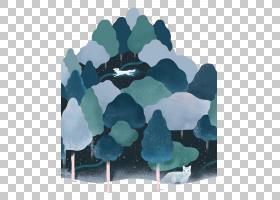 柏林荷兰,手绘卡通森林狐狸运行PNG剪贴画水彩绘画,卡通人物,蓝色