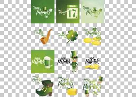爱尔兰圣帕特里克节海报节,圣帕特里克节海报艺术字PNG剪贴画假期