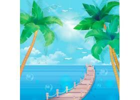 夏天海滩木桥背景图片